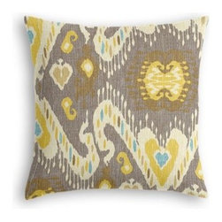 Gray, Yellow & Aqua Ikat Custom Throw Pillow - The every-style accent pillow: this Simple Throw Pillow works in any space.  Perfectly cut to be extra fluffy, you'll not only love admiring it from afar but snuggling up to it too! We love it in this colorful eclectic ikat cotton print in lilac with touches of mint, orange, and beige.