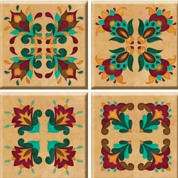 """IdeaStix - Renaissance TileStix 4-Piece Peel and Stick Tile - TileStix transforms an ordinary tiles into beautiful art decorations.  Made from proprietary rubber-resin, Premium Peel and Stick 4-Piece Embossed Tile Decor is sized for 4"""" x 4"""" tiles.  With washable, steam and heat resistant, nontoxic and removable and Reusable features, it is ideal for kitchen backsplash and bath/shower tile cecoration and suitable for smooth and non-porous tile surfaces in hot, wet and humid areas.  And since TileStix is Heat-Treated, it is also great for decorating kitchen counters for temporary placing of hot pots and pans.  Surface can be washed with most household cleaning products."""