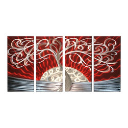 Matthew's Art Gallery - Metal Wall Art Abstract Modern Contemporary Tree and Sun - Name: Tree and Sun