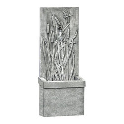 Campania - Dragonfly Wall Garden Water Fountain - Bring your garden or yard to life with the magic of Dragonfly Wall Fountain. A picturesque depiction of a pond landscape, the stone dragonflies seem almost life-like among the cattails. Water flows from the spigot near the top of the backdrop, falling into basin below.