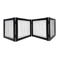 Welland - Welland Wood and Steel Designer Indoor Pet Gate,Espresso, Espresso, 72-Inch - The panels of the folding Pet Gate slide to allow a range in length that accommodates a wide variety of doorways and openings. The elegant pine wood used for this product looks great in any room. The height of this pet gate is low enough to step over for ease of movement from room to room.