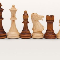 Wooden Staunton Chess Pieces - Feel like a king playing chess with these wonderful pieces. You choose from five distinct sizes including a 3 inch 3 1/4 inch 4.5 inch 5 inch and 6 inch high king. Each one of these are crafted in a Staunton Style from solid weighted wood. Each pieces has black felt on the bottom. The felt and weight combined allow a player to take their chess game outside on a windy day because together they will prevent your pieces from falling down in the middle of play. Each piece provides the most intricate detail generating a great playing environment.