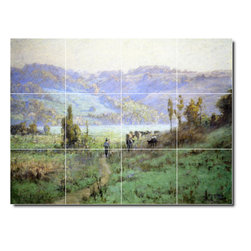 Picture-Tiles, LLC - In The Whitewater Valley Near Metamora Tile Mural By Theodore Steele - * MURAL SIZE: 12.75x17 inch tile mural using (12) 4.25x4.25 ceramic tiles-satin finish.