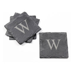 None - Personalized Slate Coasters (Set of 4) - Naturally edged,these Slate Coasters are mounted on velvet to protect counter and table tops. Perfect for any occasion,the granite colored coasters come in a custom engraved set of four.