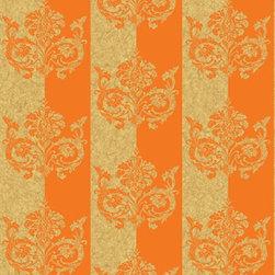Wallpaper Worldwide - Deluxe - Embellished Stripe Wallpaper, Orange, Beige - Material: Non-woven. Velvet.