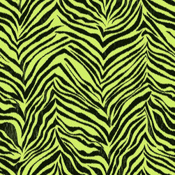 Vibrant Green Zebra Print Wallpaper - This wallcovering, with its retro vibe, is a fantasy pelt from a faux animal in mostly imaginary colors. Presented in pistachio, strawberry, or licorice with white, this make-believe Ikat zebra paper would be a fun focal wall in her bedroom. Use it with Peace/Zebra This border is priced and sold in five yard bolts. for even more pizzazz.