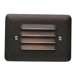 LANDSCAPE - LANDSCAPE 12V Louvered Outdoor LED Mini Step Light X-TZA28751 - Four horizontal shields diffuse light from the LED source on this Kichler Lighting outdoor mini step light. The earthy tones of the Textured Architectural Bronze finish ensure it will easily blend into a variety of outdoor spaces.