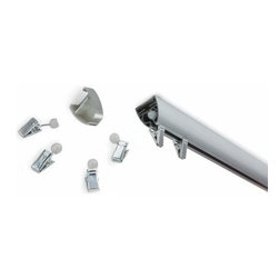 """Umbra - Glide Track, 60 """", Nickel by Umbra - A molded, multi-use track system. 60-Inch Glide Track includes 21 quiet moving clips and extension hardware. Customers can also cut their Glide to fit any application. Use as a window treatment or room divider, mount to the ceiling or wall, and connect multiple tracks to fit any space. Mounting hardware included."""