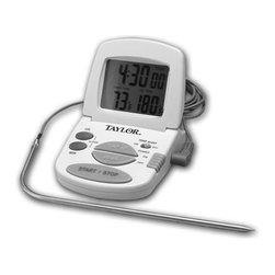 Taylor Classic Digital Probe Thermometer - The Taylor Classic Digital Cooking Thermometer & Timer allows you to monitor cooking temperatures of food accurately without opening the oven door.  Feautres a built in timer and a stove mount magnet on the back.Product Features            Combination thermometer/timer.            Monitor cooking temperatures of food without opening the oven door.            Alarm sounds when food reaches preset temperature.            Range 32 DegreesF to 392 DegreesF and -0 DegreesC to 200 DegreesC.            Stainless steel probe has a 5 foot silicone cord.            Temperature alarm signals when food is done cooking.            On/off switch to prolong battery life.            Magnet on back for mounting unit to stove.            Folds down for compact storage.            1 AAA battery included.