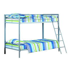 Dorel Home Products - Twin Over Twin Metal Bunk Bed - NOTE: ivgStores DOES NOT offer assembly on loft beds or bunk beds. Mattresses sold separately. Full length guardrails for upper bunk for safety. Accommodates two standard twin mattresses. Warranty: One year. Made from metal. 78.3 in. L x 45 in. W x 72.2 in. H (98 lbs.). Bunk Bed Warning Please read before purchase.This bunk bed is a space saver for multi-child rooms and great for sleepovers.