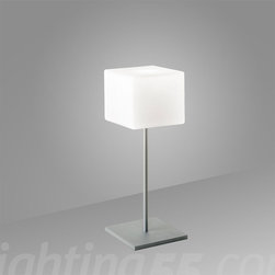 Itre - Cubi Table Lamp - ITRE Brings out the best in contemporary Italian design with the ITRE Cubi Table Lamp. Its distinctive shape and quaint dimensions make it a unique piece for the modern living room, dining room or bedroom. Features an inline on/off rocker switch and a layered blown glass shade.