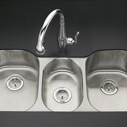 "KOHLER - KOHLER K-3166-L-NA Undertone Triple-Basin Undercounter Kitchen Sink - KOHLER K-3166-L-NA Undertone Triple-Basin Undercounter Kitchen Sink with Left Basin Depth of 7-1/2"" and Right Basin Depth of 9-1/2"""