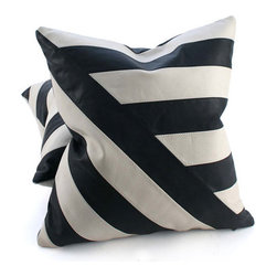 Pfeifer Studio - Black and White Leather Pillow, Diagonal Lines, 20x20 - The simplicity of black and white leather brings out the graphic geometric patterns in these statement-making cushions. Choose from two styles; Diagonal Lines or Four Quadrants. The pillows have a black leather back and are fitted with a medium-fill feather and down inner.