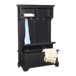 HomeStyles - Hall Tree in Ebony Finish - Crown molding top with contoured sides. Four hooks in brushed nickel. Raised panel front design to bench and bun feet. Lid with safety hinges allowing it to hold in the open position. Great accent for hall or foyer. Made from Asian hardwood, solid hardwoods and engineered wood. Made in Thailand. 40 in. W x 18.5 in. D x 64 in. H. Assembly InstructionsExtra and convenient storage are welcomed additions to any home. Four hooks at the top are great for quickly hanging jackets, scarves, etc. Though ideally suited for a foyer or entry way, this stand will provide utility throughout the home.