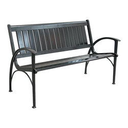 Innova Hearth & Home - Semi-Matte Black Contempo Bench - Liven up your patio or yard with this colorful bench that features a rust-free cast aluminum frame, a breathable slatted design and a contemporary profile.   Weight capacity: 500 lbs. 50.75'' W x 32'' H x 24.25'' D Seat: 15.5'' H Aluminum / steel Assembly required Imported