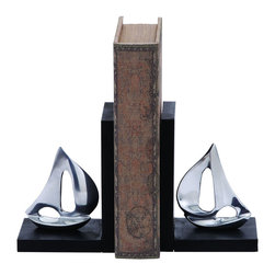 Benzara - Versatile Style Aluminum Sailboat Bookend with Worn-Out Look - If you are looking for an accessory that stands up to your expectation of style and artistic look, then this Aluminum sailboat bookend would surely interest you. It comprises of a worn out book in the middle and two sailboats of the same size at both ends, this accessory will add a classic touch to your living room shelf. The shine of the sailboats is carved with the black stands that can make it look good in the dining area too. The versatile look of this sailboat bookend makes it ideal for enhancing offices as well. Place it on your desk or on a shelf in your cabin to add a richness and gloss to your office decor. The top quality metal used in making this structure ensures a lasting use without corrosion or a scratch. It comes with a dimension of 7 in.  H x 5 in.  W x 4 in.  D.