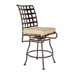 O.W. Lee Classico Swivel Wrought Iron Counter Stool - A beautiful blending of modern style with Old World craftsmanship, the O.W. Lee Classico Swivel Counter Stool adds classical beauty to your patio or deck. Designed to fit with your counter height table or bar, this counter stool also features a swivel design which makes getting in and out of the chair simple. The Swivel Counter Stool is made from handcrafted wrought iron with a gorgeous design. This stool also comes with your choice of Sunbrella cushion so you can easily complement your existing decor. The height of quality, Sunbrella cushions are fade-, stain-, mildew-, and water-resistant as well as durable and easy to clean with mild soap and water. The cushions also have a five year warranty. You'll love having your friends over to enjoy drinks, a few games, and maybe even a meal while relaxing in comfort. These chairs are also perfect for pulling up to your table so you can get some work done at home, watch your kids play, or enjoy a solitary cup of your favorite tea. Please note: This item is not intended for commercial use. Warranty applies to residential use only.Please note: This piece will be delivered with White Glove service which includes location placement. Unpacking and assembling the item will be left to the customer. Due to the custom-made nature of this item, orders usually ship within approximately 5 weeks. Because each item is assembled just for you, orders cannot be cancelled. A 50% restocking fee will apply for returns.This item is custom-made to order, which means production begins immediately upon receipt of each order. Because of this, cancellations must be made via telephone to 1-800-351-5699 within 24 hours of order placement. Emails are currently not acceptable forms of cancellation. Thank you in advance for your consideration in this matter.Materials and construction:Only the highest quality materials are used in the production of O.W. Lee Company's furniture. Carbon steel, galvanized steel, and 6061 alloy aluminum is meticulously chosen for superior strength as well as rust and corrosion resistance. All materials are individually measured and precision cut to ensure a smooth, and accurate fit. Steel and aluminum pieces are bent into perfect shapes, then hand-forged with a hammer and anvil, a process unchanged since blacksmiths in the middle ages.For the optimum strength of each piece, a full-circumference weld is applied wherever metal components intersect. This type of weld works to eliminate the possibility of moisture making its way into tube interiors or in a crevasse. The full-circumference weld guards against rust and corrosion. Finally, all welds are ground and sanded to create a seamless transition from one component to another.Each frame is blasted with tiny steel particles to remove dirt and oil from the manufacturing process, which is then followed by a 5-step wash and chemical treatment, resulting in the best possible surface for the final finish. A hand-applied zinc-rich epoxy primer is used to create a protective undercoat against oxidation. This prohibits rust from spreading and helps protect the final finish. Finally, a durable polyurethane top coating is hand-applied, and oven-cured to ensure a long lasting finish.About SunbrellaSunbrella has been the leader in performance fabrics for over 45 years. Impeccable quality, sophisticated styling and best-in-class warranties prove the new generation of Sunbrella offers more possibilities than ever. Sunbrella fabrics are breathable and water-repellant. If kept dry, they will not support the growth of mildew as natural fibers will. Beautiful and durable, Sunbrella is a name you can trust in your outdoor furniture.About O.W. Lee CompanyAn American family tradition, O.W. Lee Company has been dedicated to the design and production of fine, handcrafted casual furniture for over 60 years. From their manufacturing facility in Ontario, California, the O.W. Lee artisans combine centuries-old techniques with state-of-the-art equipment to produce beautiful casual furniture. What started in 1947 as a wrought-iron gate manufacturer for the luxurious estates of Southern California has evolved, three generations later, into a well-known and reputable manufacturer in the ever-growing casual furniture industry.