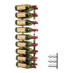 Vintage View Wall Mounted Wine Storage Rack - 18-Bottle - The Vintage View 18-bottle Wall Mounted Wine Storage Rack makes just the right gift for wine lovers ... including yourself. This rack is made of durable metal in your choice of finishes. It holds up to 18 bottles of wine with full view of the bottle labels so you can easily find what you're looking for; it also provides perfect airflow between bottles. Modular in design it works in almost any space and comes fully assembled which makes for easy installation - all you need to do is mount it to the wall! About Wine Master Cellars for Vintage ViewWine Master Cellars manufactures and sells wine storage and display systems that combine quality craftsmanship and an innovative aesthetically pleasing design. In 2001 company owner Doug McCain created the patented Vintage View label-forward wine racking display system and it has since become one of fastest growing metal modular systems in the United States. Wine Master Cellars products are used in homes wine stores hotels grocery stores bars and restaurants around the world. The company has an office and showroom in Denver Colorado and prides itself in helping its customers create the wine cellar of their dreams.