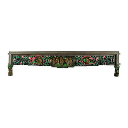 Pre-owned Antique Chinese Wall Hanging with Colorful Carving - A colorful and unique Antique Chinese Wall Hanging dating to 1900 in pine with original black, green and pink lacquer from the Zhejiang Province that was originally part of the head posts of a traditional Chinese bed.    Overall Condition is Restored. Shows normal wear and miscellaneous nicks, dings, and scratches due to age and use. All of the faces have been smoothed flat, perhaps due to the Cultural Revolution in 1966 - 1976.