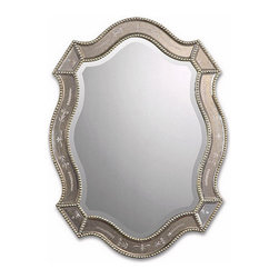 Ballard Designs - Felicie Oval Mirror - Generously beveled glass. Hangs either way. Beading on frame. This symmetrically ornate mirror shows off lots of glamorous detail. The surrounding frame features sections of heavily antiqued glass with etched flowering vines bordered in antiqued gold leaf beading. A beautiful solution for adding extra light and a little sparkle to a space.Felicie Oval Mirror features: . . .