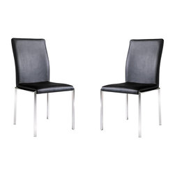 "Armen Living - Vengo Side Chair Black Leatherette, Stainless Steel Legs, Set Of 2 - Cutting-edge style gives your room a crisp fresh look and more than just looks  comfort is also important, these chairs give both! 18"" seat Heightt"