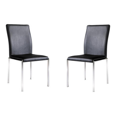 """Armen Living - Vengo Side Chair Black Leatherette, Stainless Steel Legs, Set Of 2 - Cutting-edge style gives your room a crisp fresh look and more than just looks  comfort is also important, these chairs give both! 18"""" seat Heightt"""