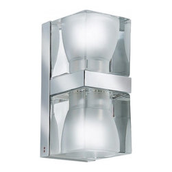 """Fabbian - Fabbian Cubetto Wall Sconce -D28 D01A, D02A - The cubetto up-down 2 light wall sconce (D01, D02) from Fabbian was designed by Pamio Design and made in Italy. The cubetto 2 light wall sconce provides direct and indirect light and is for indoor use.  Made from 24% lead  crystal cube shades, frosted inside and polished chromium-plated metal structures.   Products description: The Cubetto up-down wall sconce from Fabbian was designed by Pamio Design and made in Italy. The Cubetto 2 light wall sconce provides direct and indirect light and is for indoor use.  Made from 24% lead crystal cube shades, frosted inside and polished chromium-plated metal structures.  Details:                         Manufacturer:                         Fabbian                                         Designer:                         Pamio Design                                         Made  in:            Italy                            Dimensions:                         Height: 7.6"""" (19.2cm) X Width: 4"""" (10.2cm)                                                     Light bulb:                                       2 X 50W GU10                                         Material                         Metal, glass, crystal"""