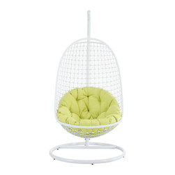 Modway - Modway EEI-738 Encounter Swing Lounge Chair in White - Sift through the sands of silent contemplation with this fanciful outdoor swing chair. Encounter is your guide through periods of growth and change. With a sturdy outdoor white metal stand and plush fluorescent green seating, set your sights on an awakened sense of confidence while safely ensconced from an elevated vantage point.