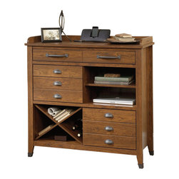 Sauder - Sauder Carson Forge Sideboard Console in Washington Cherry - Sauder - Console Tables - 414783 - Carson Forge reminds us of the quality with which American products can still be made. Inspired by recovered materials, this collection is clad in a warm Washington Cherry finish reminiscent of native timber. Accents and hardware in riveted iron complete a look that makes a great accent piece for the modern home.