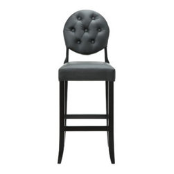 """LexMod - Button Bar Stool in Black - Button Bar Stool in Black - Create your universe with an elevated opaque version of the popular Casper Chair. While transparency has its place, the opacity of the Buttoned Casper Bar Stool delivers spatial distinction. With its padded black vinyl seat and back, turn your bar or kitchen into an event horizon of outwardly emitted light and joy. Set Includes: One - Buttoned Casper Bar Stool Simple Modern Dining Chair, Birch Wood Frame, Dense Foam Padding for Comfort, Seven Symmetrically Placed Buttons Overall Product Dimensions: 23.5""""L x 17""""W x 47""""H Seat Height: 29""""HBACKrest Height: 19""""H - Mid Century Modern Furniture."""