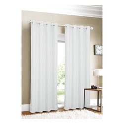 Hampshire Station - Luxury Linen Grommet Top 88-inch Curtain Panel - Cover the largest windows in style with this subtle grommet top curtain panel. The white linen material will blend seamlessly with any decorating style. Stainless-steel grommets help this curtain slide onto your favorite curtain rod.