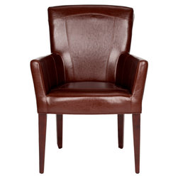 Safavieh - Safavieh Brown Leather Dale Arm Chair -