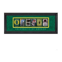 College Letter Framed Wall Art - University of Oregon - 20W x 8H in. - A great gift idea for the UO graduate, this College Letter Framed Wall Art - University of Oregon - 20W x 8H in. shows pride in style. It features beautifully framed and matted professional pictures of spots on campus that spell out Oregon. The yellow and green matting has a scrolled design, a clear glass front protects, and its black vinyl-wrapped engineered wood frame adds to the quality. This framed print includes University of Oregon script, details of where each picture was taken, and comes ready to hang. Go Ducks!