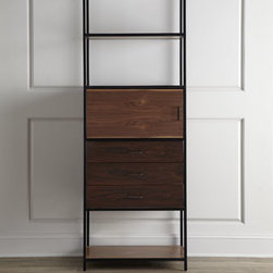 "Horchow - Ethel Bookcase - Behold the sleek iron and steel construction of this must-have mid-century modern design bookcase. The perfect piece to add character to your reading area. Handcrafted of iron, steel, and walnut. One door, three drawers, and three shelves. 28""W x...."