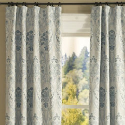 Simonetta Drape With Blackout Liner - These beautiful drapes (with blackout lining) would immediately add a spring touch to any room. The pattern is soft and beautiful. You could introduce any color into a space with slate blue.