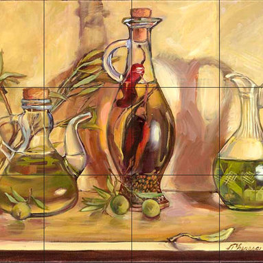 The Tile Mural Store (USA) - Tile Mural - Olive Oil Jars - Kitchen Backsplash Ideas - This beautiful artwork by Theresa Kasun has been digitally reproduced for tiles and depicts 3 Olive Oil jars.  Our kitchen tile murals are perfect to use as part of your kitchen backsplash tile project. Add interest to your kitchen backsplash wall with a decorative tile mural. If you are remodeling your kitchen or building a new home, install a tile mural above your stove top or install a tile mural above your sink. Adding a decorative tile mural to your backsplash is a wonderful idea and will liven up the space behind your cooktop or sink.