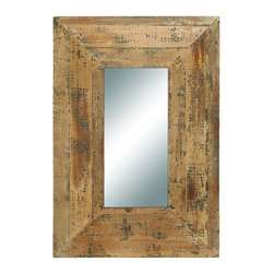 Benzara - Looking Glass Style Mirror With Old Look Rectangle Frame - This antique mirror is just what you are looking for to complete your foyer or hallway decoration. Simple and looks as if it were hand made two hundred years ago, the rectangle shape frame is the main focus of the mirror that wows everyone. Besides the foyer or the hallway, it makes a lovely fixture in the guest bathroom.