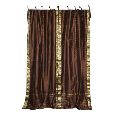 Indian Selections - Pair of Brown Tie Top Sheer Sari Curtains, 80 X 96 In. - Size of each curtain: 80 Inches wide X 96 Inches drop. Sizing Note: The curtain has a seam in the middle to allow for the wider length