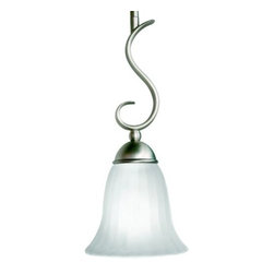 Kichler - Willowmore Mini Pendant by Kichler - Simple yet cultured, the Kichler Willowmore Mini Pendant celebrates the beauty of minimal design in what is a great option for transitional kitchens and dining rooms. Part of a larger collection of soft contemporary casual fixtures, this mini pendant features distressed etched glass and a distinctive metal accent. Choose from two glass/finish combinations for the right feel. Since 1938, Cleveland-based Kichler Lighting has created exceptional lighting in a variety of styles, finishes, colors and designs. With a diverse collection of indoor and outdoor lighting in classic and contemporary styles, Kichler Lighting always focuses on making home lighting that is both beautiful and functional.