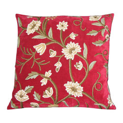 Crewel Fabric World - Crewel Pillow Grapes Dreams Red Velvet 16x16 Inches - Artisans in a remote mountain village in Kashmir crewel stitch these blossoms, vines and leaves by hand, resulting in a lush pattern of richly shaded wool yarns on Linen, Cotton, Velvet, Silk Organza, Jute. Also backed in natural linen, Cotton, Velvet Silk Organza, Jute with a hidden zipper.
