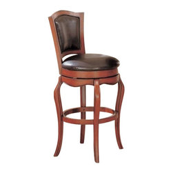 "Coaster - 29""H Bar Stool (Cherry) By Coaster - Perfect for refined entertaining, the Harrison bar table set features a warm medium finish over solid hardwoods and cherry veneers. Carved wood details on the round 40-inch diameter bar height table and coordinating bar stools with faux leather upholstery backs create a great traditional style. The pieces will be a wonderful addition to your casual dining and entertainment room in your home. This beautiful bar stool will be a wonderful addition to your traditional style casual dining and entertaining space. The chair feature a warm Cherry finish, with a back and round seat covered in rich brown faux leather. The seat swivels for convenience, above a pretty shaped apron and elegant cabriole legs. Pair with the matching pub table for a complete look in your home. Features: Warm medium Cherry finish Traditional style Constructed of hardwood solids and cherry veneers Cabriole Legs and Footrest Stretcher Brown Vinyl Upholstered Swivel Seat and Back Armless Specifications: Overall dimensions: 46H x 21W x 19.5D inches Seat height: 29 inches."