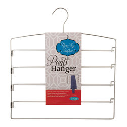 Enchante Accessories Inc - Space Saving 4 Tier Swing out Non Slip Multiple Pants Hanger Rack, White - Organize your closet in style with this 4 tier metal pants hanger. Each hanger features a flat, space-saving body, and 4 tiers of swing out pant rails.