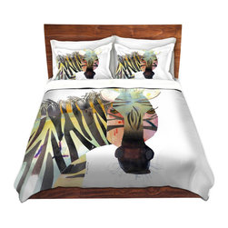 DiaNoche Designs - Duvet Cover Twill - Zebra - Lightweight and super soft brushed twill Duvet Cover sizes Twin, Queen, King.  This duvet is designed to wash upon arrival for maximum softness.   Each duvet starts by looming the fabric and cutting to the size ordered.  The Image is printed and your Duvet Cover is meticulously sewn together with ties in each corner and a concealed zip closure.  All in the USA!!  Poly top with a Cotton Poly underside.  Dye Sublimation printing permanently adheres the ink to the material for long life and durability. Printed top, cream colored bottom, Machine Washable, Product may vary slightly from image.