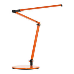 Koncept - Z-Bar Mini LED Desk Lamp Colors, Orange - The Z-Bar Mini packs all of the style and features of its big brothers. This smaller version definitely delivers the same classic design, long reach and flexibility and multi-directional LED head. The only difference is, this Mini fits in a smaller space. Available in 8 different finishes!