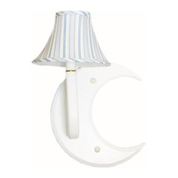 Charn&Co. - Candystripe Blue Moon Wall Sconce - Simple and cottagy. Light up your child's room with a pair of these beautiful wall sconces over the moon delights.