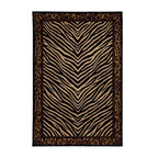 Mohawk Home - Mohawk Raymond Waites Sahara Black Animal Prints Zebra Leopard 5'3 x 7'10 Rug - Beautifully suited to make any room warm and inviting, this machine woven rug features and exotic animal print pattern.  The tiger print and leopard trim lend wild style to your decor. Modernize your home with this area rug. Unsurpassed in quality and style without sacrificing affordability, Mohawk Home