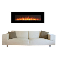 "Touchstone Home Products - OnyxXL 72"" Electric Fireplace- Black - The Touchstone OnyxXL is a beautiful, 72"" wide, electric fireplace with realistic flames and contemporary white frame that will make a strong design statement in your living room, family room or any room in your home. The electric fireplace delivers the beauty of a fireplace without the fire and smokey smell. The OnyxXL has 2 heat settings (high and low), and will heat a room up to 400 sq. ft.. Also, the fireplace's flame can can be used without the heating feature. The OnyxXL is easy to install and comes with easy to follow instructions.  The flames being produced are done with LED lighting. Weight for this item unpackaged is 70lbs and packaged is 92lbs."