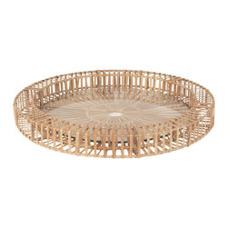 "Lazy Susan - Lazy Susan Split Rattan Spoke Tray Small - Adorn a space with the rustic yet modern Split Rattan Spoke tray from Lazy Susan. Bringing a bit of the outdoors to a coffee table or console, the small tray's glass bottom makes it the perfect vessel for displaying treasured collectibles. 19.5"" Diameter x 2""H; Natural rattan"