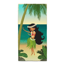 Hula Girl On The Beach Bath Towel - Our Bath/Beach Towels are made of a super soft poly fiber fabric with 2mm pile.