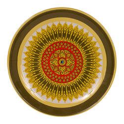 Bongenre - Sage Winchester Mandala Melamine Heavy-Duty Platter, 16 Inches Diameter - Price includes one heavy-duty melamine Sage-colored Winchester Mandala round platter Size: 16 inch